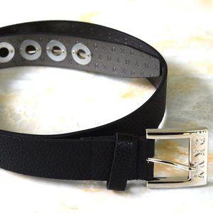 DKNY Pebbled Faux Leather Grommet Belt Black